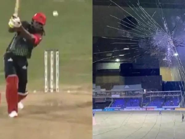 Chris Gayle smashed a window with a six during a CPL 2021 match. Photo-Twitter