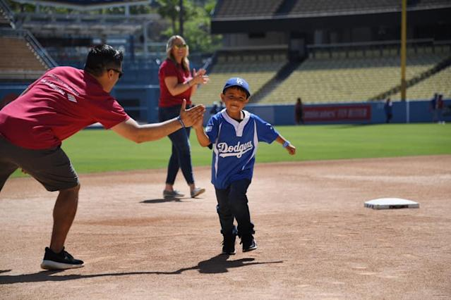 "The <a class=""link rapid-noclick-resp"" href=""/mlb/teams/la-dodgers/"" data-ylk=""slk:Los Angeles Dodgers"">Los Angeles Dodgers</a> Foundation held its annual Dodgers RBI Playerfest on June 29. (@LosAngelesDodgersFoundation)"