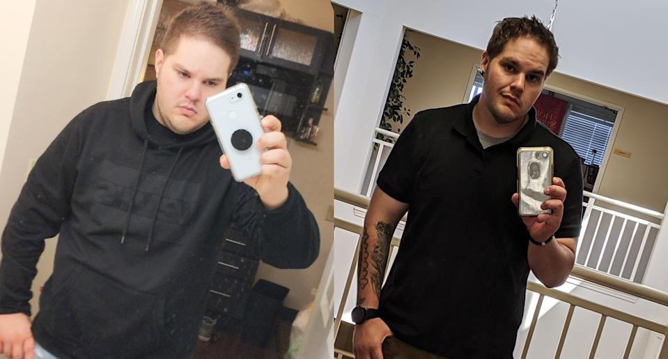 Ackerman before and during his weight loss journey. (Photo: Jerrod Ackerman)