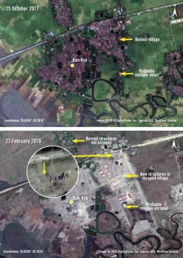 Before and after photographs released by Amnesty International and DigitalGlobe taken on October 25, 2017 and February 27, 2018 of new structures and fencing built over the previously burnt village of Kan Kya in Myanmar's Rakhine State