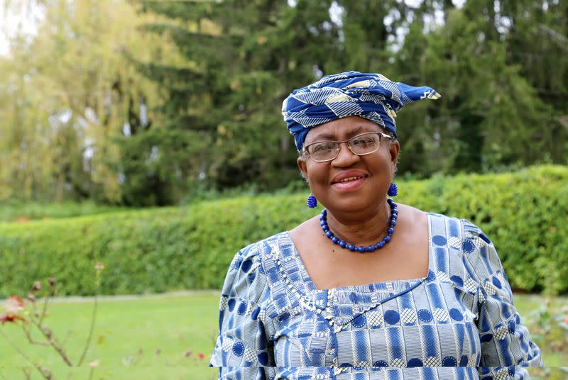 FILE PHOTO: Okonjo-Iweala poses outside a Nigerian diplomatic residence in Chambesy