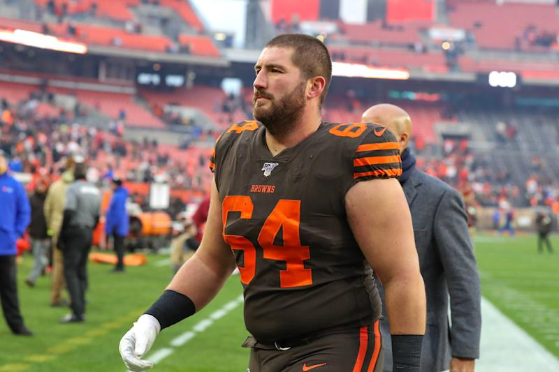 CLEVELAND, OH - DECEMBER 08: Cleveland Browns center JC Tretter (64) leaves the field following the National Football League game between the Cincinnati Bengals and Cleveland Browns on December 8, 2019, at FirstEnergy Stadium in Cleveland, OH. (Photo by Frank Jansky/Icon Sportswire via Getty Images)