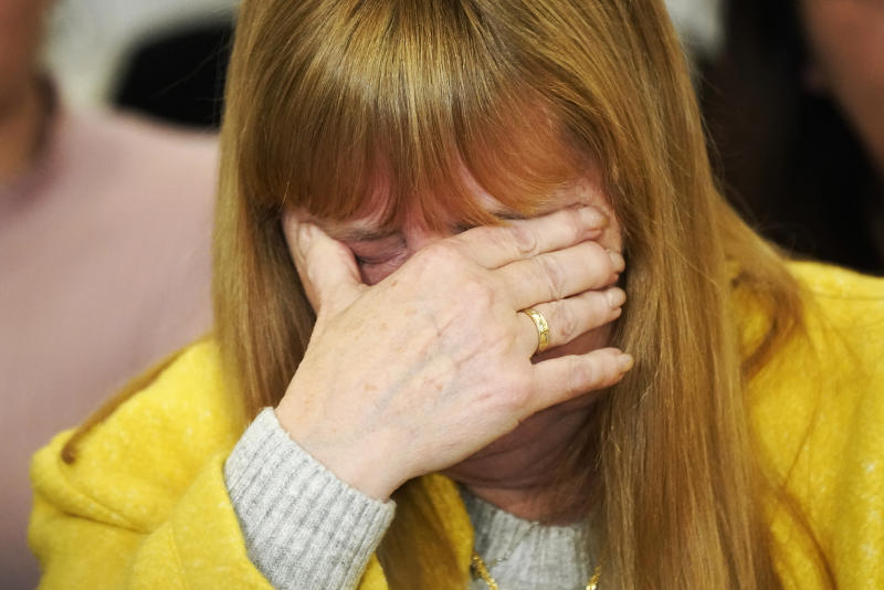 LIVERPOOL, ENGLAND - NOVEMBER 28: Margaret Aspinall, whose 18-year-old son James was killed in the disaster, becomes emotional during a press conference at the Cunard Building after former South Yorkshire police chief superintendent David Duckenfield was found not guilty of manslaughter at Preston Crown Court, on November 28, 2019 in Liverpool, England. The former South Yorkshire Police chief superintendent was on trial for the manslaughter of 95 of the 96 Liverpool fans who died as a result of a fatal crush during an FA Cup football match between Liverpool and Nottingham Forest that was played in Sheffield Wednesday's Hillsborough ground on 15 April 1986. A trial on the same charges earlier this year ended with the jury unable to come to a verdict. The 96th death of Tony Bland could not be charged as he died more than a year and a day after the act that caused his death which was the law at the time. The families of the victims watched the court proceedings in Preston and at a live broadcast in the Cunard Building. (Photo by Christopher Furlong/Getty Images)