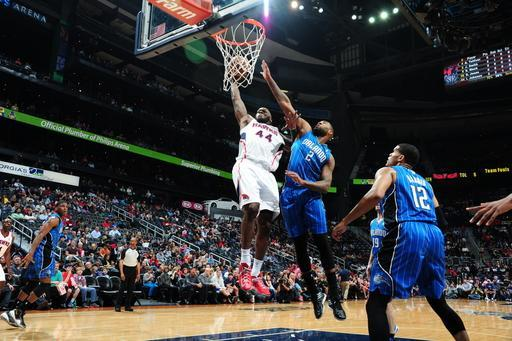 ATLANTA, GA - MARCH 30: Ivan Johnson #44 of the Atlanta Hawks goes up for the dunk against the Orlando Magic on March 30, 2013 at Philips Arena in Atlanta, Georgia. (Photo by Scott Cunningham/NBAE via Getty Images)