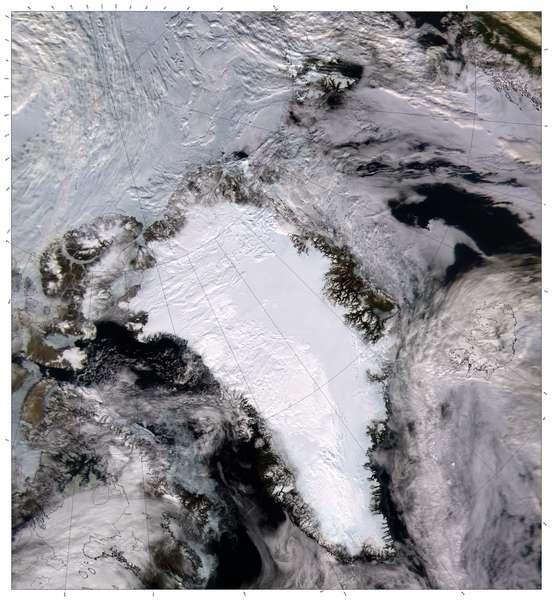 Ice topped Greenland can be seen in this cloud-free satellite image.