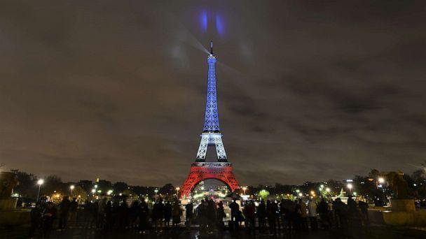 PHOTO: The Eiffel Tower is illuminated in the colors of the French flag to honor victims of Paris attacks, Nov. 17, 2015, in Paris. (Mustafa Yalcin/Anadolu Agency/Getty Images)