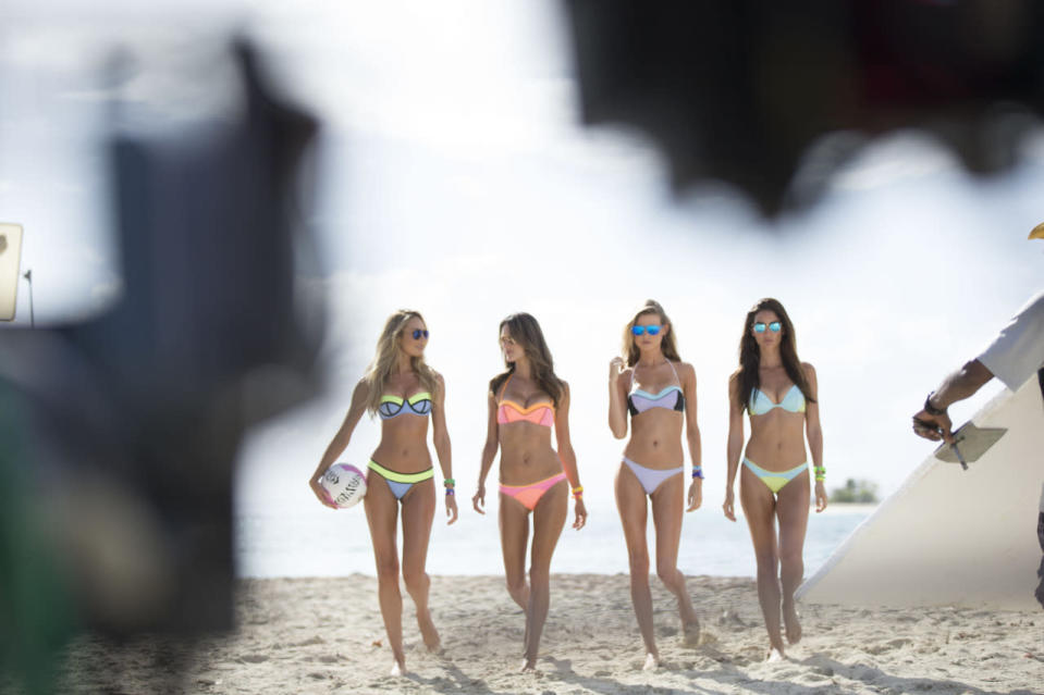It's Candice Swanepoel and Alessandra Ambrosio versus Behati Prinsloo and Lily Aldridge in the battle of the beach babes.