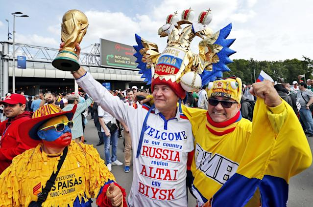 <p>Fans arrive at the Luzhniki Stadium ahead of the World Cup opener. (EPA) </p>