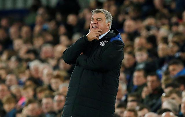 """Soccer Football - Premier League - Everton v Newcastle United - Goodison Park, Liverpool, Britain - April 23, 2018 Everton manager Sam Allardyce REUTERS/Andrew Yates EDITORIAL USE ONLY. No use with unauthorized audio, video, data, fixture lists, club/league logos or """"live"""" services. Online in-match use limited to 75 images, no video emulation. No use in betting, games or single club/league/player publications. Please contact your account representative for further details."""