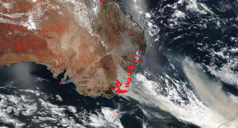 NOAA-NASA's Suomi NPP satellite captured imagery of the fires and the resultant billowing smoke cascading off the edge of Australia on Jan. 01, 2020. | NASA