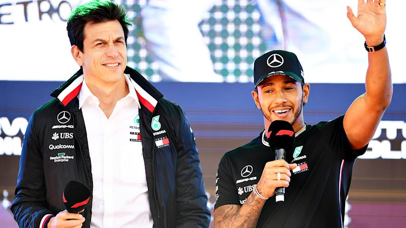 Mercedes team principal Toto Wolff and driver Lewis Hamilton have formed one of F1's most lucrative partnerships since Hamilton joined the team in 2013. (Photo by Clive Mason/Getty Images)