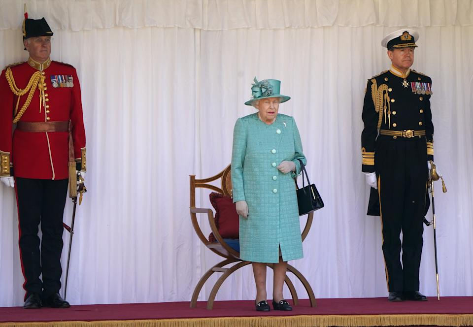 WINDSOR, ENGLAND - JUNE 13:  Queen Elizabeth II attends a ceremony to mark her official birthday at Windsor Castle on June 13, 2020 in Windsor, England. The Queen celebrates her 94th birthday this year, in line with Government advice, it was agreed that The Queen's Birthday Parade, also known as Trooping the Colour, would not go ahead in its traditional form. (Photo by Paul Edwards - WPA Pool/Getty Images)