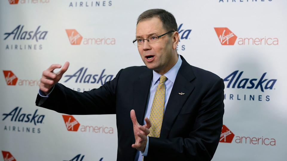 Mandatory Credit: Photo by Ted S Warren/AP/Shutterstock (5953651a)Brad Tilden Alaska Airlines president and CEO Brad Tilden talks to reporters at the airline's corporate headquarters in Seattle.