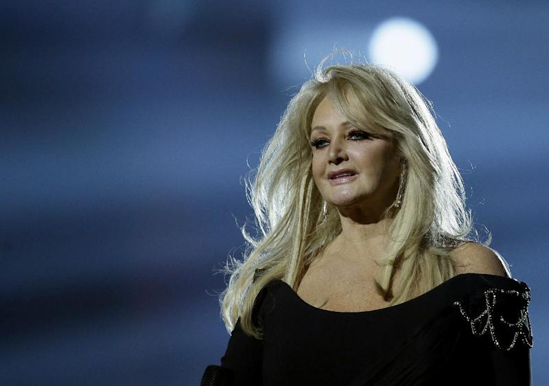 "Bonnie Tyler of Britain performs her song ""Believe in Me"" during a rehearsal for the final of the Eurovision Song Contest at the Malmo Arena in Malmo, Sweden, Friday, May 17, 2013. The contest is run by European television broadcasters with the event being held in Sweden as they won the competition in 2012, the final will be held in Malmo on May 18. (AP Photo/Alastair Grant)"