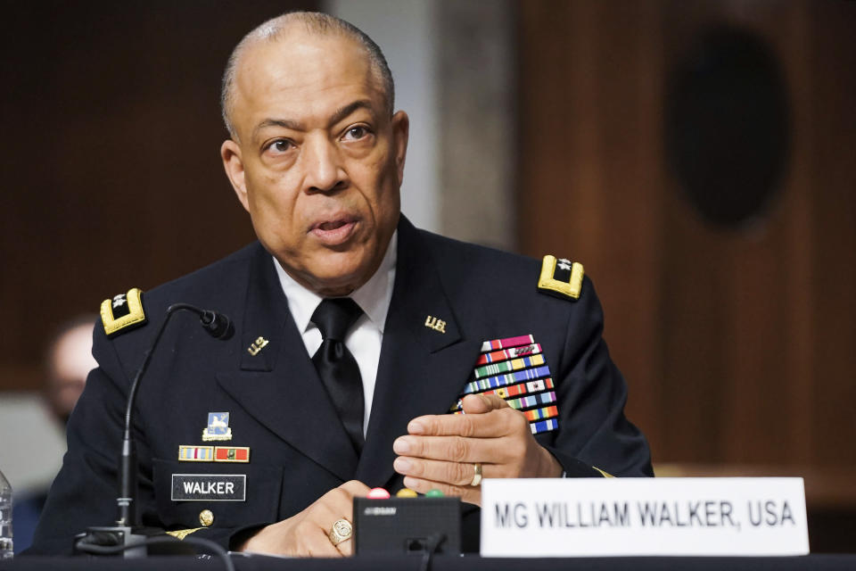 Army Maj. Gen. William Walker, Commanding General of the District of Columbia National Guard speaks during a Senate Committee on Homeland Security and Governmental Affairs and Senate Committee on Rules and Administration joint hearing Wednesday, March 3, 2021, examining the January 6, attack on the U.S. Capitol in Washington. (Greg Nash/Pool via AP)
