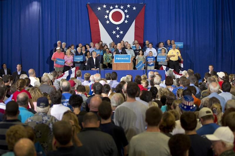 Vice President Joe Biden speaks at a campaign event at Milford High School, Sunday, Sept. 9, 2012, in Milford, Ohio. (AP Photo/Carolyn Kaster)