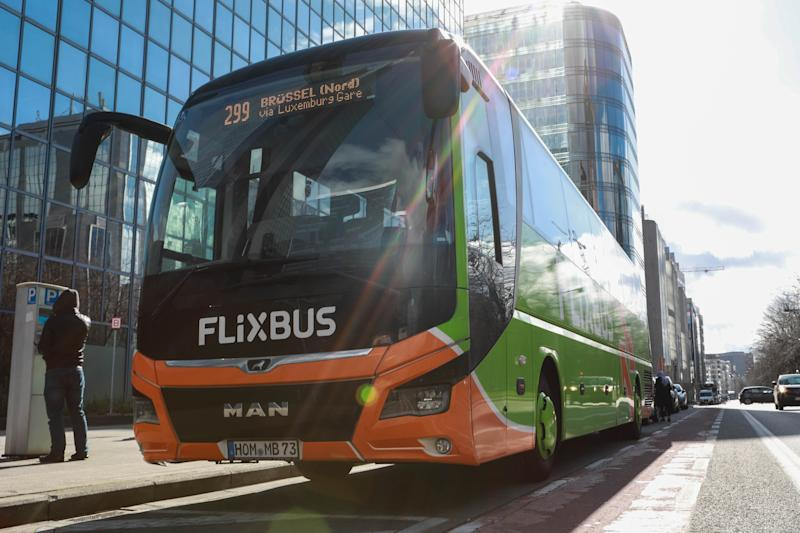Illustration picture shows a Flixbus bus, Tuesday 05 March 2019 in Brussels. German bus company Flixbus is expecting to acquiring rivals Eurolines. BELGA PHOTO PAUL-HENRI VERLOOY (Photo credit should read PAUL-HENRI VERLOOY/AFP via Getty Images)