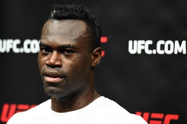 ST. LOUIS, MO – JANUARY 12: Uriah Hall of Jamaica interacts with media after a workout at the Scottrade Center on January 12, 2018 in St. Louis, Missouri. (Getty Images)