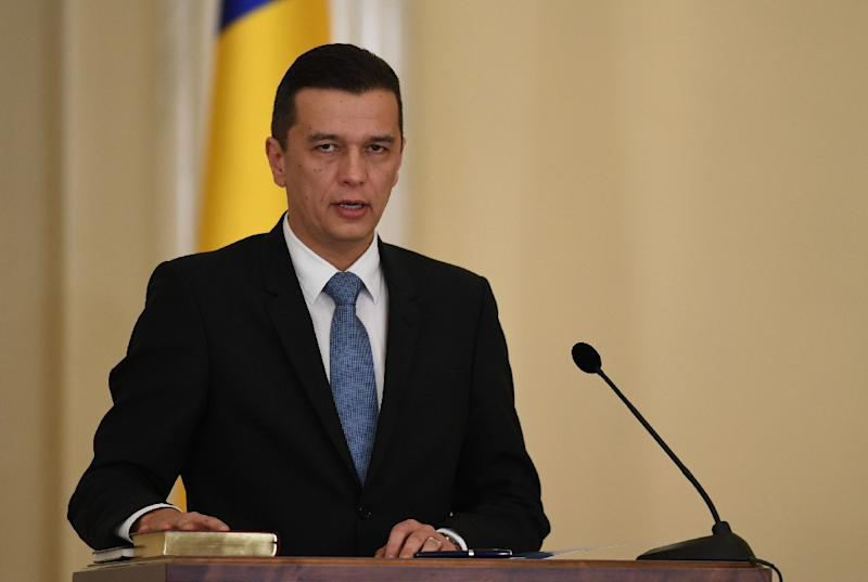 Romanian Prime Minister Sorin Grindeanu could face a no-confidence vote in parliament presented by his own Social Democrat party. (AFP Photo/DANIEL MIHAILESCU)