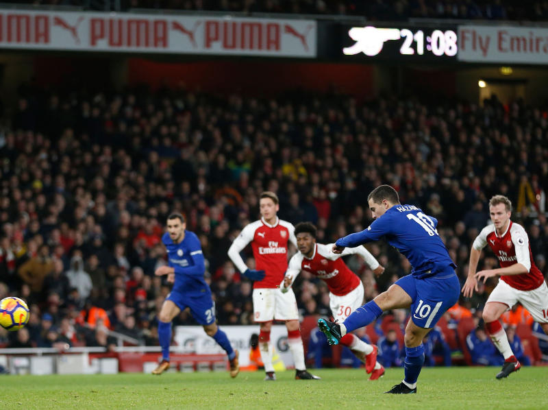 Eden Hazard converts from the penalty spot: Getty