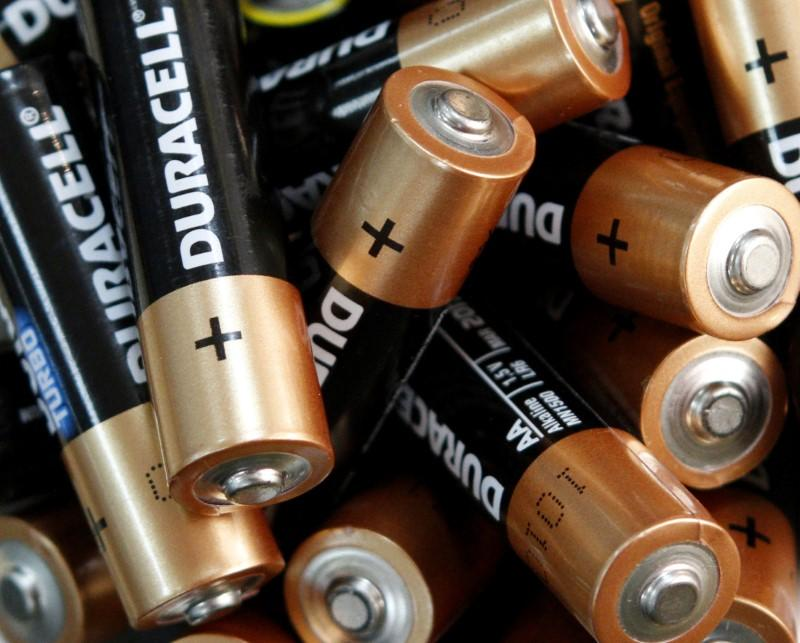 FILE PHOTO: Used Duracell batteries are seen in an office in Kiev
