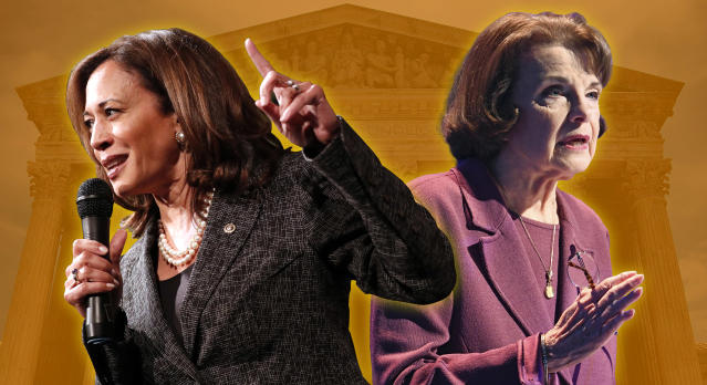 Sen. Kamala Harris and Sen. Dianne Feinstein (Photo illustration: Yahoo News; photos: Paul Morigi/AP, Denis Poroy/AP, Jim Watson/AFP/Getty Images)