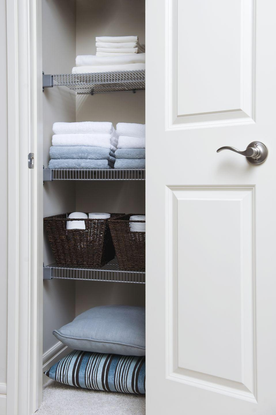 """<p>You can never have enough sheets and towels ... until your closet is overflowing with mismatched, ratty, and well-loved linens. Instead of tucking them away in baskets, place everything straight on the shelves so that you can see exactly what you have. Use shelf dividers to keep everything separated and prevent stacks from toppling over. Rosenthal's top tip: Store sheets sets within the pillowcase to take the stress out of making the bed.<br></p><p><a class=""""link rapid-noclick-resp"""" href=""""https://www.amazon.com/Dividers-Cabinets-Libraries-Separators-Organizers/?tag=syn-yahoo-20&ascsubtag=%5Bartid%7C10063.g.36459111%5Bsrc%7Cyahoo-us"""" rel=""""nofollow noopener"""" target=""""_blank"""" data-ylk=""""slk:SHOP SHELF DIVIDERS"""">SHOP SHELF DIVIDERS</a></p><p><strong>RELATED:</strong> <a href=""""https://www.goodhousekeeping.com/home-products/a22791349/ideal-bed-creation/"""" rel=""""nofollow noopener"""" target=""""_blank"""" data-ylk=""""slk:How to Build the Best Bed Ever"""" class=""""link rapid-noclick-resp"""">How to Build the Best Bed Ever</a></p>"""