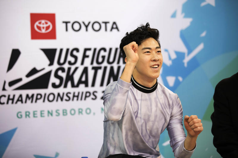 Nathan Chen reacts to his score in the men's short program at the U.S. Figure Skating Championships, Saturday, Jan. 25, 2020, in Greensboro, N.C. (AP Photo/Lynn Hey)