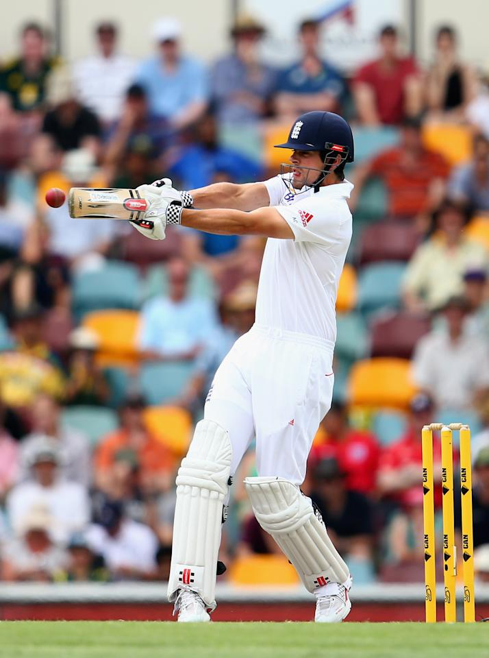 BRISBANE, AUSTRALIA - NOVEMBER 24:  Alastair Cook of England bats during day four of the First Ashes Test match between Australia and England at The Gabba on November 24, 2013 in Brisbane, Australia.  (Photo by Ryan Pierse/Getty Images)