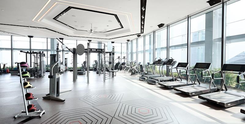 New hotels like the Shangri-La at the Fort are teeming with high-tech fitness facilities like this one.