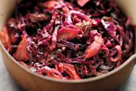 """This is a lovely crunchy and tangy accompaniment to cold meats and salads. Store any leftovers in the refrigerator and use within a few days. <a href=""""https://www.epicurious.com/recipes/food/views/pickled-sweet-and-sour-red-cabbage-51225020?mbid=synd_yahoo_rss"""" rel=""""nofollow noopener"""" target=""""_blank"""" data-ylk=""""slk:See recipe."""" class=""""link rapid-noclick-resp"""">See recipe.</a>"""