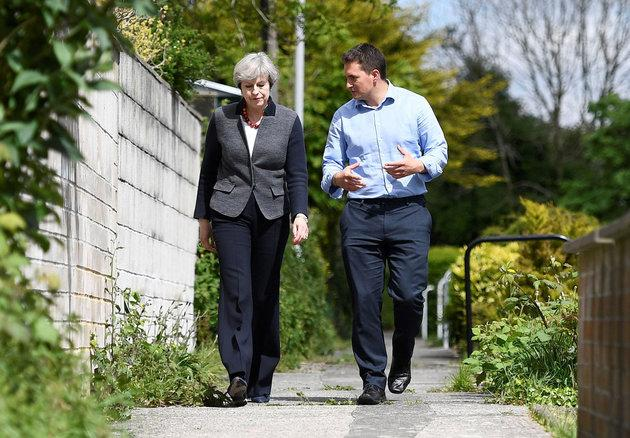 Tory MP Johnny Mercer campaigning with Prime Minister Theresa May