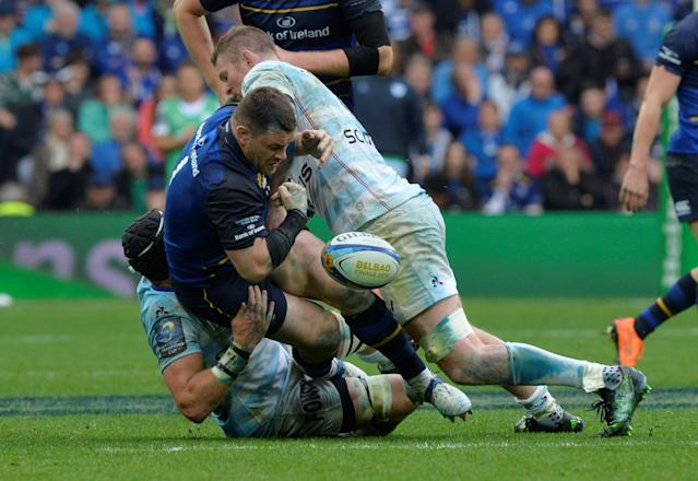 Rugby Union - European Champions Cup Final - Leinster Rugby v Racing 92 - San Mames, Bilbao, Spain - May 12, 2018 Leinster Rugby's Cian Healy is tackled by Racing 92's Donnacha Ryan REUTERS/Vincent West