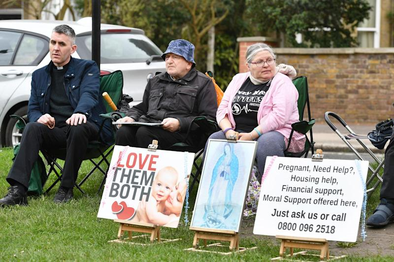 Pro-life demonstrators ahead of the key vote by Ealing Council (PA)