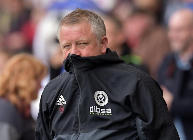 "Soccer Football - Championship - Sheffield United vs Millwall - Bramall Lane, Sheffield, Britain - April 14, 2018 Sheffield United manager Chris Wilder Action Images/Paul Burrows EDITORIAL USE ONLY. No use with unauthorized audio, video, data, fixture lists, club/league logos or ""live"" services. Online in-match use limited to 75 images, no video emulation. No use in betting, games or single club/league/player publications. Please contact your account representative for further details."