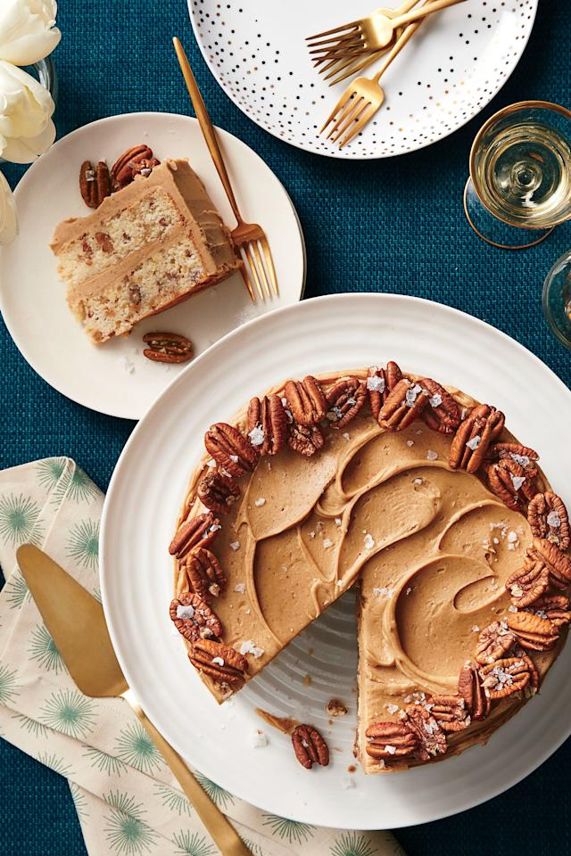 """<p><b>Recipe: <a href=""""http://www.southernliving.com/recipes/butter-toffee-pecan-layer-cake-recipe"""" target=""""_blank"""">Butter Toffee-Pecan Layer Cake</a> </b></p> <p> This buttery vanilla cake can be kept at room temperature for three to five days. </p>"""