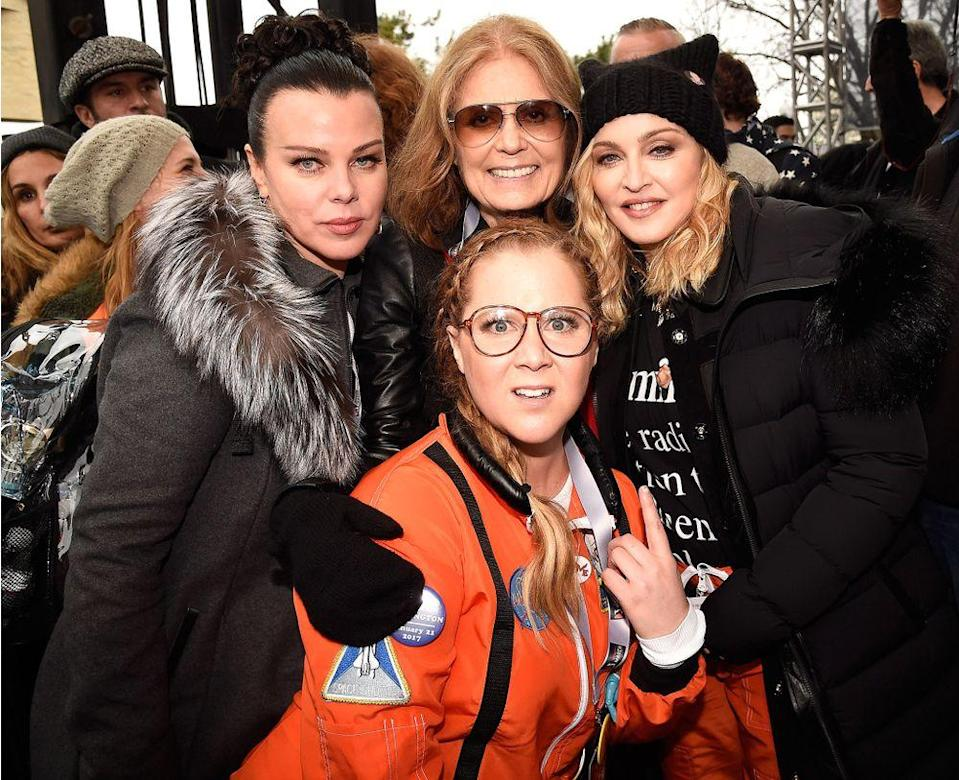 From left: Debbie Mazur, Gloria Steinem, Madonna and Amy Schumer attend the rally at the Women's March on Washington on January 21, 2017, in Washington, D.C.