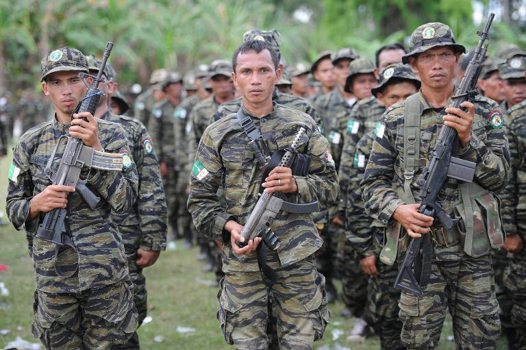 MILF rebels at a rally in support of the peace agreement with the government, on southern island of Mindanao, on March 27, 2014