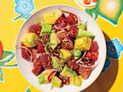 """<p>Find fresh or frozen wakame seaweed at Asian markets. You can also use fresh or frozen premixed seaweed salad. The tuna and avocado make this dish a potassium powerhouse. Serve atop brown rice, if you like.</p> <p><a href=""""https://www.myrecipes.com/recipe/tuna-poke-with-mango-and-avocado"""" rel=""""nofollow noopener"""" target=""""_blank"""" data-ylk=""""slk:Tuna Poke with Mango and Avocado Recipe"""" class=""""link rapid-noclick-resp"""">Tuna Poke with Mango and Avocado Recipe</a></p>"""