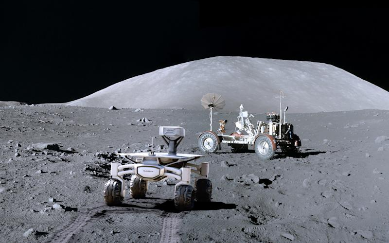 The spacecraft will land two miles from the Apollo 17 site then rovers will be deployed to track down Nasa's moon buggy  - Credit: PTScientists