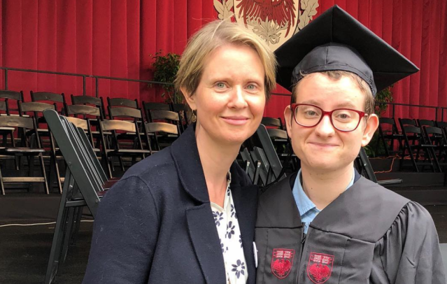 Cynthia Nixon shares a heartwarming post with her transgender son at his graduation for #TransDayOfAction. (Photo: Cynthia Nixon via Instagram)