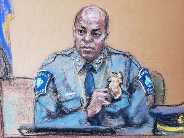 PHOTO: Minneapolis Police Chief Medaria Arradondo answers questions on the sixth day of the trial of former Minneapolis police officer Derek Chauvin in Minneapolis, April 5, 2021, in this courtroom sketch.  (Jane Rosenberg/Reuters)