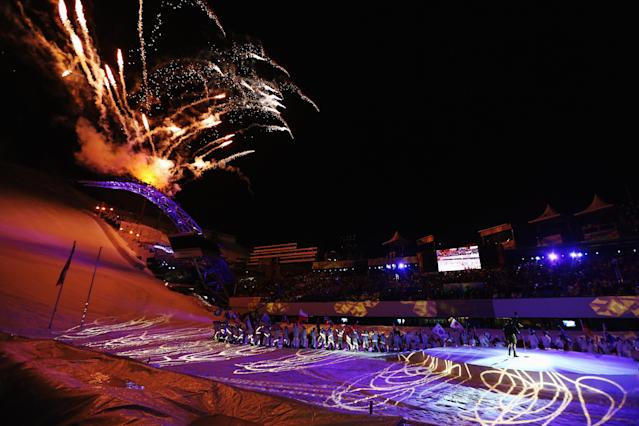 SCHLADMING, AUSTRIA - FEBRUARY 04: General view as fireworks explode during the opening ceremony for the Alpine FIS Ski World Championships on February 4, 2013 in Schladming, Austria. (Photo by Clive Mason/Getty Images)