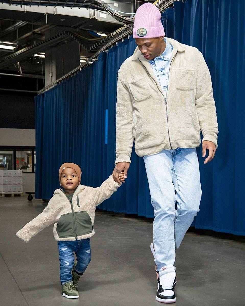 """<h1 class=""""title"""">January 18: Russell and Noah Westbrook</h1> <div class=""""caption""""> Like father, like son. </div> <cite class=""""credit"""">Zach Beeker</cite>"""