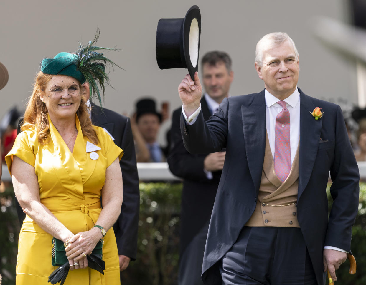 ASCOT, ENGLAND - JUNE 21: Prince Andrew, Duke of York and Sarah Ferguson, Duchess of York on day four of Royal Ascot at Ascot Racecourse on June 21, 2019 in Ascot, England. (Photo by Mark Cuthbert/UK Press via Getty Images)