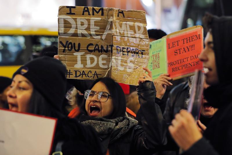 Deferred Action for Childhood Arrivals recipient Gloria Mendoza participates in a protest in support of a standalone Dream Act in New York on Jan. 10. (Lucas Jackson / Reuters)