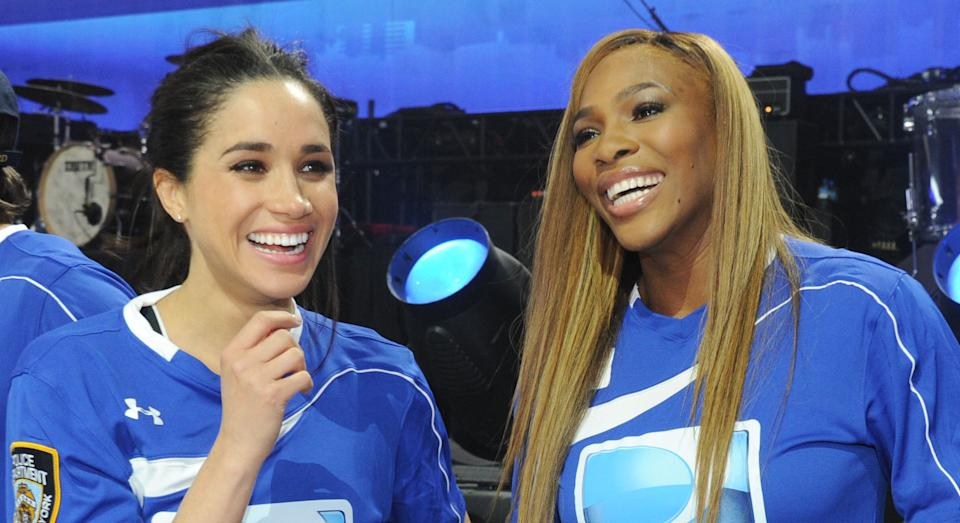 NEW YORK, NY - FEBRUARY 01:  (L-R) Meghan Markle, Serena Williams and Hannah Davis participate in the DirecTV Beach Bowl at Pier 40 on February 1, 2014 in New York City.  (Photo by Kevin Mazur/Getty Images for DirecTV)