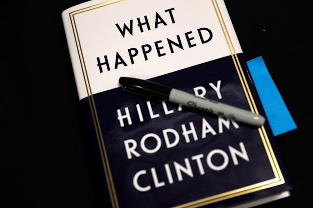 "A copy of former Secretary of State Hillary Clinton's new book, ""What Happened,"" sits backstage as she launches a 15-city book tour at the Warner Theatre in Washington, D.C. (Photo: Jonathan Ernst/Reuters)"