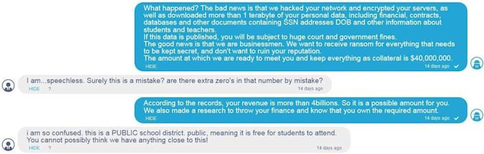 Excerpts of a conversation between a Broward County Public Schools official and a member of a criminal ransomware gang posted to the gang's blog.