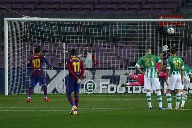 Messi converted a penalty to give Barcelona some breathing space